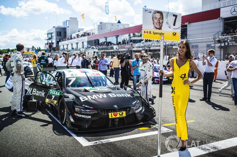 Grid girl of Bruno Spengler, BMW Team RBM, BMW M4 DTM