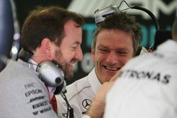 James Allison, Mercedes AMG F1 W08 Technical Director (Centre) with Bradley Lord, Mercedes AMG F1 W0