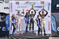 Podium: race winner Robert Megennis, Team Pelfrey, second place Oliver Askew, Cape Motorsports, thir