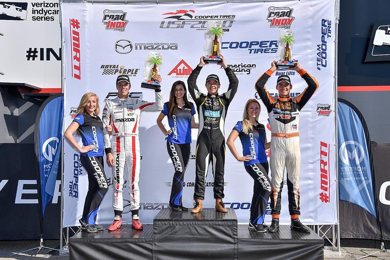 Podio: ganador de la carrera Robert Megennis, Team Pelfrey, segundo lugar Oliver Askew, Cape Motorsports, tercer lugar Rinus van Kalmthout, Pabst Racing