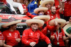 Team manager Yves Matton celebrates the win with Citroën World Rally Team members