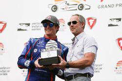 Third place Scott Dixon, Chip Ganassi Racing Honda getting trophy
