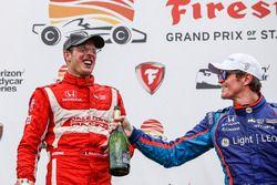 Podium: race winner Sébastien Bourdais, Dale Coyne Racing Honda, third place Scott Dixon, Chip Ganas