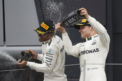 Race winner Lewis Hamilton, Mercedes AMG F1, Valtteri Bottas, Mercedes AMG F1 on the podium
