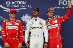 Qualifying Top 3: polesitter Lewis Hamilton, Mercedes AMG F1, second place Kimi Raikkonen, Ferrari, third place Sebastian Vettel, Ferrari