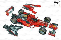 Vue d'ensemble explosée de la Ferrari F300 (649)