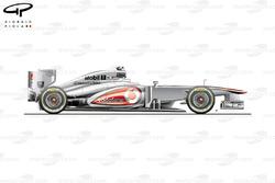 Vue latérale de la McLaren MP4-28, lancement