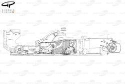 Vue latérale explosée de la Ferrari F138