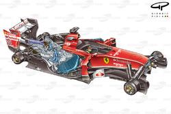 Vue de 3/4 de la Ferrari F14 T 3/4 sans roues pour en exposer les détails
