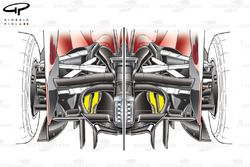 Ferrari F10 rear end detail, double diffuser holes highlighted in yellow