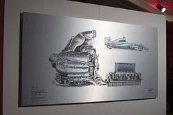 Un disegno tecnico di Giorgio Piola della Mercedes W05 Hybrid 2014 di Lewis Hamilton