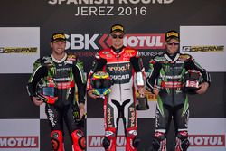 Podium: race winner Chaz Davies, Ducati Team, second place Tom Sykes, Kawasaki Racing, third place Jonathan Rea, Kawasaki Racing