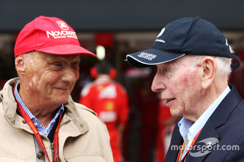 (L to R): Niki Lauda, Mercedes Non-Executive Chairman with John Surtees