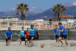 Timo Glock, Antonio Felix da Costa, Augusto Farfus, Marco Wittmann and Tom Blomqvist, Beach Soccer