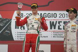 Race 2 podium: winner Mick Schumacher, Prema Power Team, third place Job Van Uitert, Jenzer Motorsport