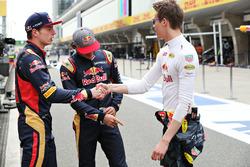 Daniel Ricciardo, Red Bull Racing, Carlos Sainz Jr., Scuderia Toro Rosso, and Max Verstappen, Scuderia Toro Rosso