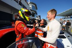 Winner Shaun Balfe, Philip Keen, Ferrari 458 Italia GT3 in parc ferme