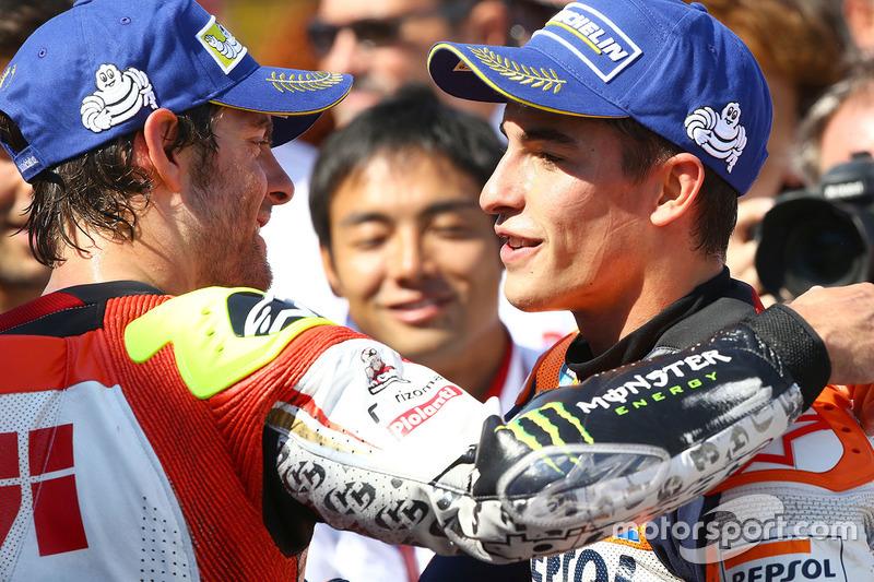 Sieger Marc Marquez, Repsol Honda Team, mit Cal Crutchlow, Team LCR, Honda