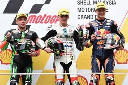 Podium : le vainqueur Francesco Bagnaia, Aspar Team Mahindra Moto3, le deuxième, Jakub Kornfeil, Drive M7 SIC Racing Team, le troisième, Bo Bendsneyder, Red Bull KTM Ajo