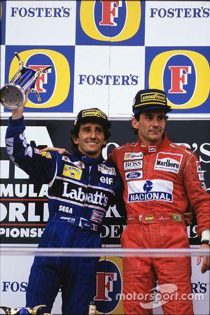 Ayrton Senna, McLaren; Alain Prost, Williams
