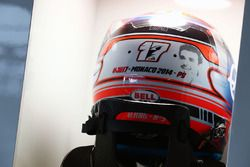 Le casque de Romain Grosjean, Haas F1 Team avec un hommage à Jules Bianchi