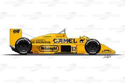 Lotus 99T conducido por Ayrton Senna