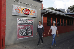 Romain Grosjean, Haas F1 Team, Esteban Gutierrez, Haas F1 Team visit Mac's Speed Shop to prepare som
