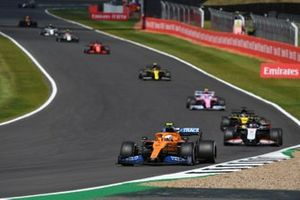 Lando Norris, McLaren MCL35, Romain Grosjean, Haas VF-20, Daniel Ricciardo, Renault F1 Team R.S.20, and Lance Stroll, Racing Point RP20