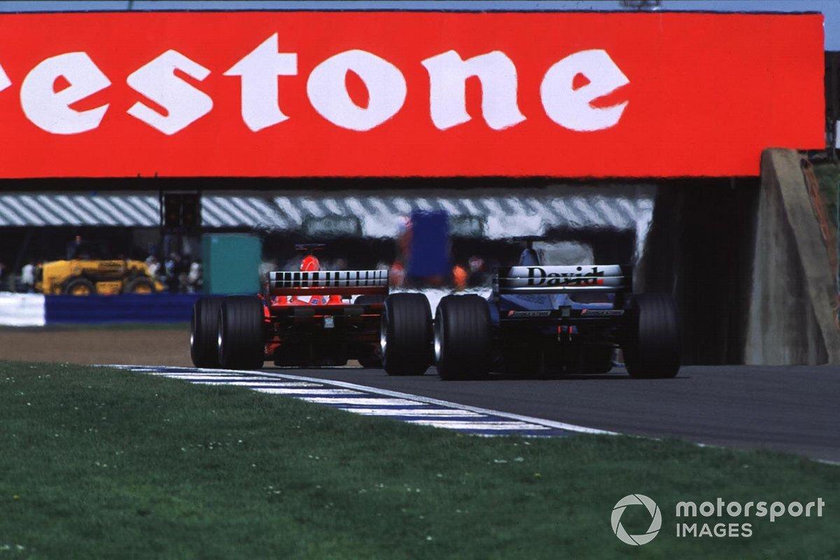 David Coulthard, McLaren MP4/15 Mercedes, Rubens Barrichello, Ferrari F1-2000, GP della Gran Bretagna del 2000