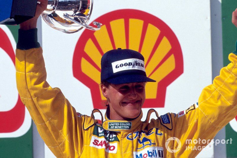 Podium: third place Michael Schumacher, Benetton
