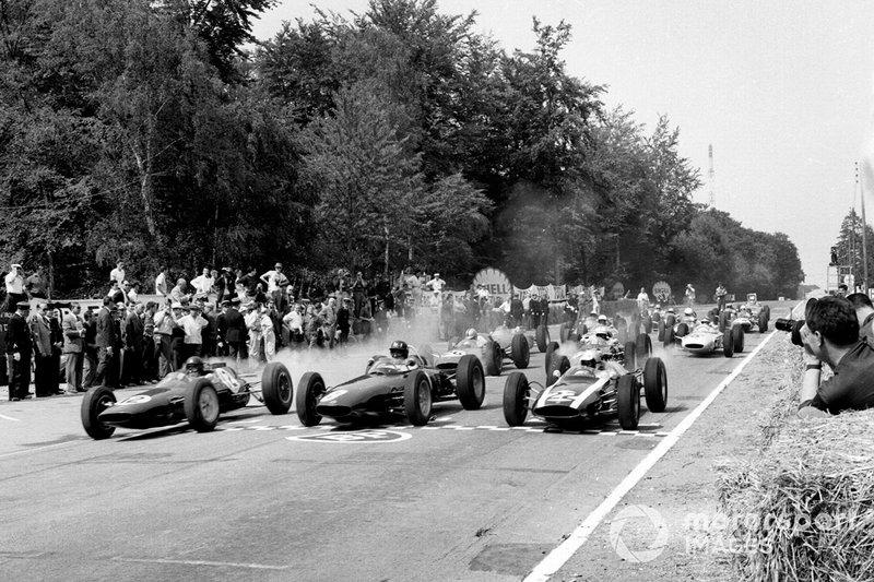 Jim Clark, Lotus 25 Climax, Graham Hill, BRM P57, Bruce McLaren, Cooper T60 Climax, GP di Francia del 1962