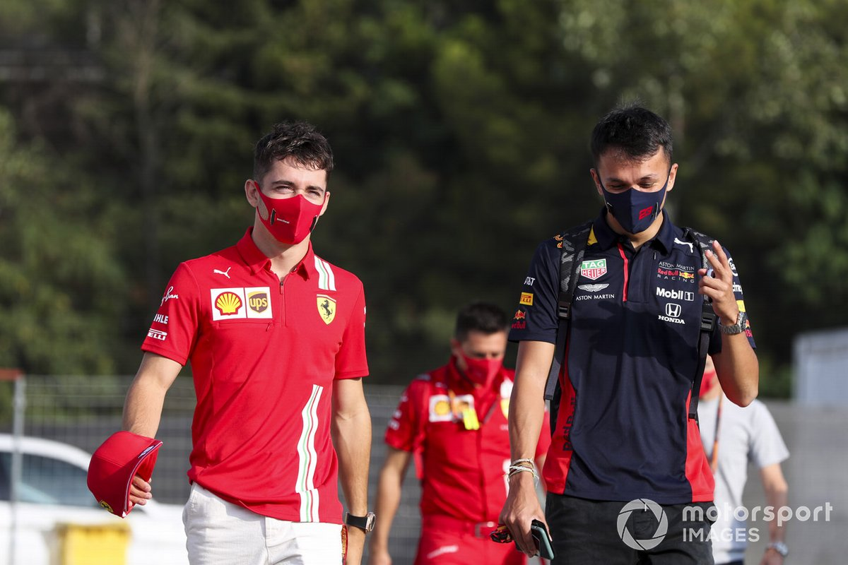 Charles Leclerc, Ferrari and Alex Albon, Red Bull Racing