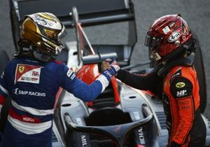 Race Winner Nobuharu Matsushita, MP Motorsport in Parc Ferme with Robert Shwartzman, Prema Racing