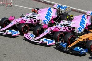 The cars of Sergio Perez, Racing Point RP20, Lance Stroll, Racing Point RP20, and Lando Norris, McLaren MCL35, in Parc Ferme after Qualifying