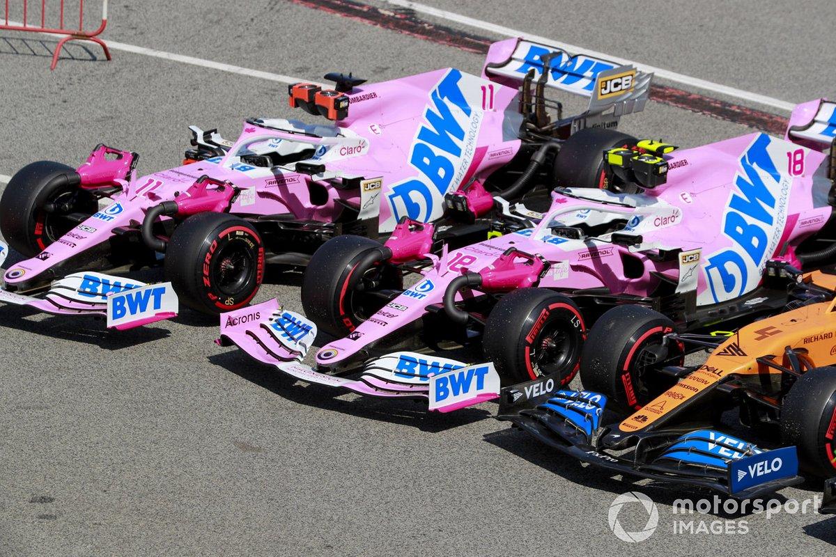 Los monoplazas de Sergio Pérez, Racing Point RP20, Lance Stroll, Racing Point RP20, Lando Norris, McLaren MCL35, en Parc Ferme