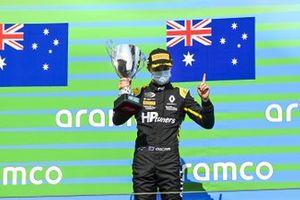 Race Winner Oscar Piastri, Prema Racing on the podium