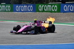 Flames pour from the rear of Giuliano Alesi, HWA Racelab