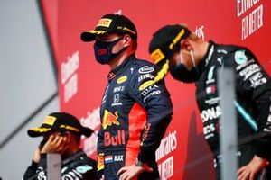 Max Verstappen, Red Bull Racing, celebrates on the podium with Lewis Hamilton, Mercedes AMG F1 and Valtteri Bottas, Mercedes AMG F1