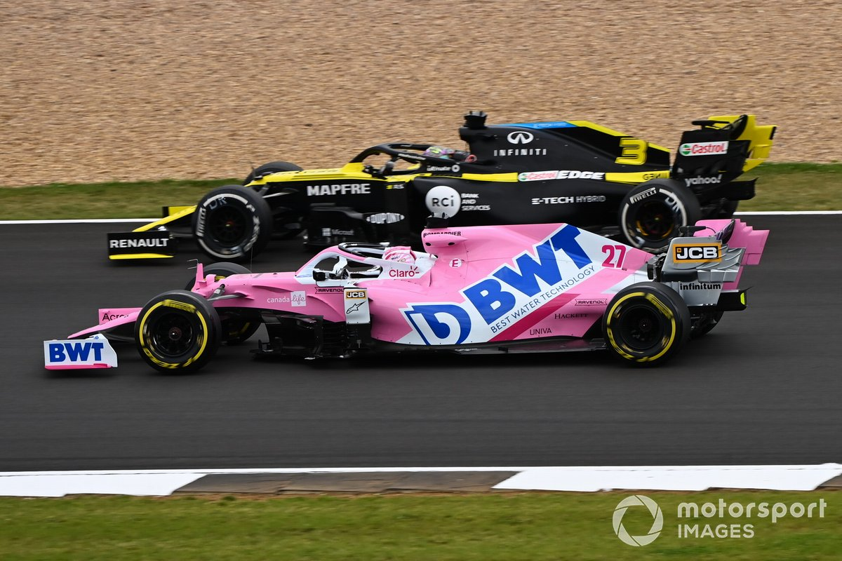 Nico Hulkenberg, Racing Point RP20, Daniel Ricciardo, Renault F1 Team R.S.20