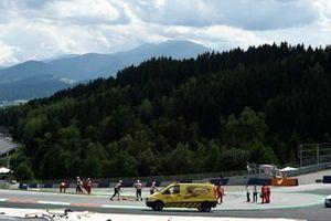 Repairing air fence after Johann Zarco, Avintia Racing and Franco Morbidelli, Petronas Yamaha SRT crash