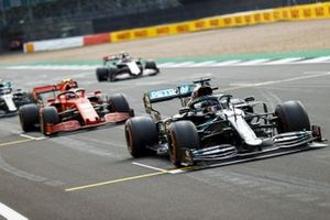 Lewis Hamilton, Mercedes F1 W11, Charles Leclerc, Ferrari SF1000, and Valtteri Bottas, Mercedes F1 W11, practice their start procedures