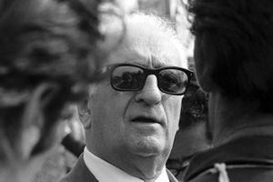 Enzo Ferrari durante la sua consueta visita a Monza
