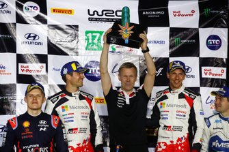 Podium: Winner Sébastien Ogier, Julien Ingrassia, Toyota Gazoo Racing WRT Toyota Yaris WRC, Kaj Lindström