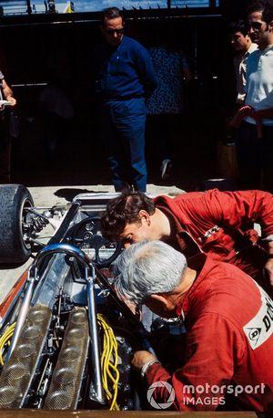 Yardley Team BRM mechanics work on a car in the pits