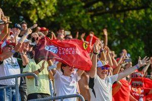 Fans cheer for Charles Leclerc, Ferrari