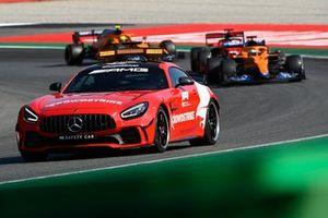 The Safety Car Daniel Ricciardo, McLaren MCL35M, Charles Leclerc, Ferrari SF21, and Lando Norris, McLaren MCL35M