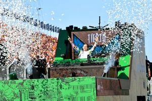Tijs Michiel Verwest, known as Tiesto performs a mobile DJ set after the race
