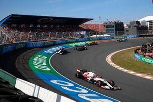 Antonio Giovinazzi, Alfa Romeo Racing C41, George Russell, Williams FW43B, and Lance Stroll, Aston Martin AMR21