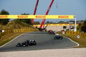 Lewis Hamilton, Mercedes W12, Valtteri Bottas, Mercedes W12, and Pierre Gasly, AlphaTauri AT02