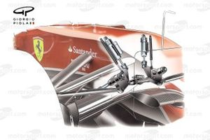 Detalle de la biela delantera del Ferrari F14T